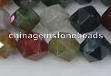 CAA1028 15.5 inches 10mm faceted nuggets Indian agate beads