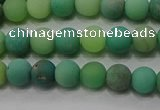 CAA1150 15.5 inches 4mm round matte grass agate beads wholesale