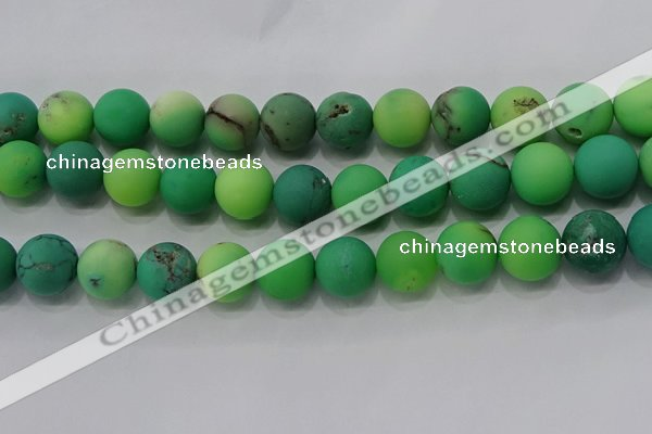 CAA1154 15.5 inches 12mm round matte grass agate beads wholesale