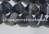 CAA1244 15.5 inches 10mm faceted nuggets matte black line agate beads