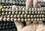 CAA1295 15.5 inches 8mm round matte plated druzy agate beads