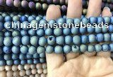 CAA1297 15.5 inches 8mm round matte plated druzy agate beads