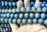 CAA1337 15.5 inches 12mm round matte plated druzy agate beads