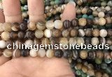 CAA1476 15.5 inches 8mm round matte banded agate beads wholesale