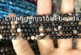 CAA1536 15.5 inches 4mm round banded agate beads wholesale