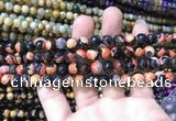 CAA1762 15 inches 8mm faceted round fire crackle agate beads