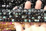 CAA1766 15 inches 8mm faceted round fire crackle agate beads