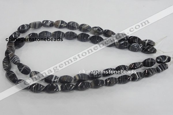 CAA214 15.5 inches 8*16mm twisted rice madagascar agate beads