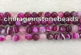 CAA2221 15.5 inches 10mm faceted round banded agate beads