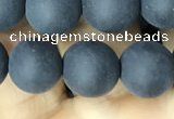 CAA2451 15.5 inches 12mm round matte black agate beads wholesale