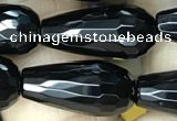 CAA2512 15.5 inches 8*16mm faceted teardrop black agate beads