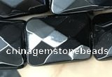 CAA2623 15.5 inches 18*25mm faceted rectangle black agate beads
