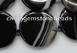 CAA264 15.5 inches 24mm flat round black line agate gemstone beads