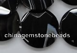 CAA280 15.5 inches 18mm faceted coin black line agate beads