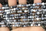CAA2815 15 inches 4mm faceted round fire crackle agate beads wholesale