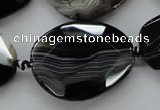 CAA284 15.5 inches 28*38mm faceted freeform black line agate beads