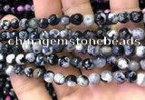 CAA2907 15 inches 6mm faceted round fire crackle agate beads wholesale