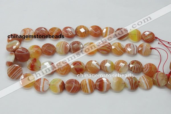 CAA306 15.5 inches 18mm faceted coin red line agate beads