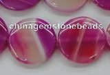 CAA310 15.5 inches 24mm flat round fuchsia line agate beads