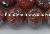 CAA3513 15.5 inches 14mm faceted round AB-color fire agate beads