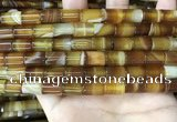 CAA4178 15.5 inches 8*12mm tube line agate beads wholesale