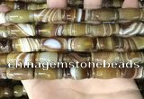CAA4197 15.5 inches 10*20mm carved drum line agate gemstone beads