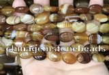 CAA4211 15.5 inches 10*14mm oval line agate beads wholesale