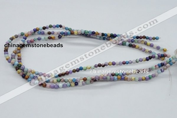 CAA50 15.5 inches 4mm round dyed white agate gemstone beads