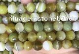 CAA5162 15.5 inches 16mm faceted round banded agate beads