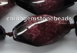 CAA518 20*40mm faceted & twisted nuggets agate druzy geode beads