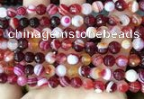 CAA5213 15.5 inches 6mm faceted round banded agate beads