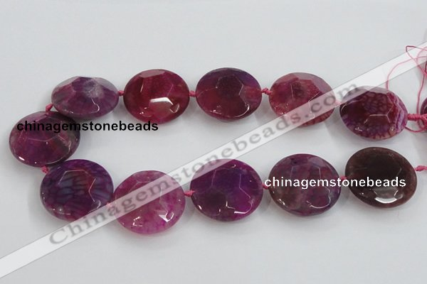 CAA570 15.5 inches 35mm faceted flat round dragon veins agate beads