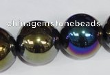 CAA852 15.5 inches 22mm round AB-color black agate beads