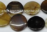 CAA894 15.5 inches 20mm flat round agate gemstone beads wholesale