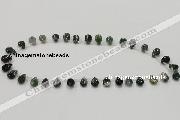 CAB127 15.5 inches 8*12mm flat teardrop moss agate gemstone beads