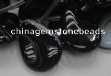 CAB315 15.5 inches 18*25mm flat teardrop black agate gemstone beads