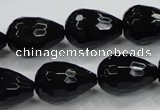 CAB331 15.5 inches 13*17mm faceted teardrop black agate gemstone beads