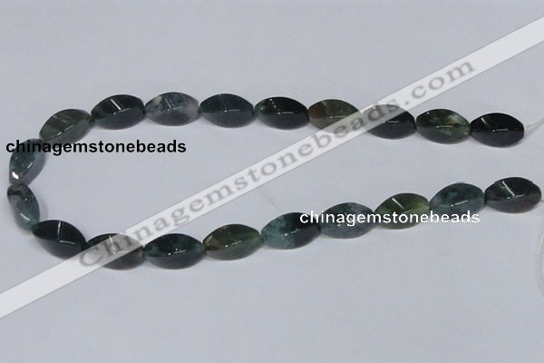 CAB422 15.5 inches 10*20mm twisted rice moss agate gemstone beads