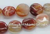 CAB489 15.5 inches 14mm flat round red agate beads wholesale