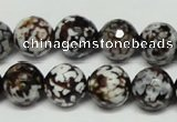 CAB618 15.5 inches 14mm faceted round leopard skin agate beads wholesale