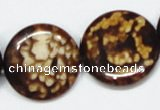 CAB630 15.5 inches 25mm flat round leopard skin agate beads wholesale