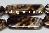 CAB641 15.5 inches 15*40mm rectangle leopard skin agate beads