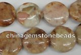 CAG1090 15.5 inches 18mm flat round Morocco agate beads wholesale