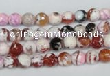 CAG1502 15.5 inches 6mm faceted round fire crackle agate beads