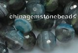 CAG216 15.5 inches 12mm faceted round blue agate gemstone beads