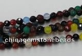 CAG2350 15.5 inches 4mm faceted round multi colored agate beads