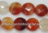 CAG2394 15.5 inches 16mm faceted coin red agate beads wholesale