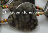 CAG257 15.5 inches 35*35mm heart dragon veins agate gemstone beads