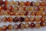 CAG2701 15.5 inches 6mm faceted round red line agate beads