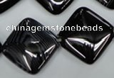 CAG2938 15.5 inches 22*22mm diamond black line agate beads